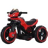 W&HH Elektrisches Kindermotorrad, 6V Dreiradmotorrad, Früherziehung, Musik, LED-Licht-Kinderauto,Rot