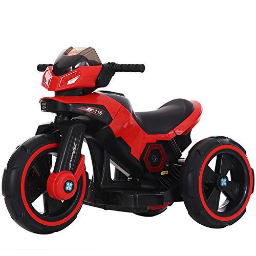 W&HH Elektrisches Kindermotorrad, 6V Dreiradmotorrad, Früherziehung, Musik, LED-Licht-Kinderauto,Rot*