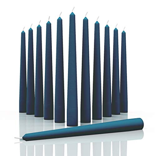 CANDWAX 12 inch Taper Candles Set of 12 - Dripless and Smokeless Candle Unscented - Slow Burning Candle Sticks are Perfect As Christmas Taper Candles - Dark Blue Candles