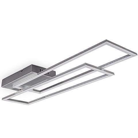 B.K.Licht 40 Watt Trapez- LED Deckenleuchte I schwenkbar I Farbtemperatur stufenlos wählbar I stufenlos dimmbar I Timer I Nachtlichtfunktion I Fernbedienung I LED Deckenlampe I Alu gebürstet