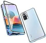 Funda Compatible con Xiaomi Redmi Note 10 Pro, Carcasa Absorción Magnética con Armario Diseño, Aluminio Bumper Transparente Vidrio Templado Case Anti-Arañazos 360 Grados Cover,Azul