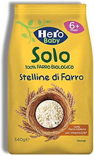 HERO SOLO Pastina Stelline di Farro BIO, Dai 6 Mesi in su, Cartone da 12 Confezioni x 340gr