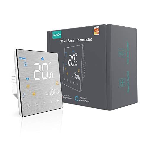 MoesGo Termostato programable para la calefacción y regulador de temperatura activado por wifi para calderas de agua/gas, compatible con Alexa y Google Home