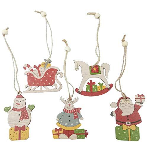Eliky 5-delig/set kerstboom hangende hangers met touw kralen ornamenten slee sneeuwman