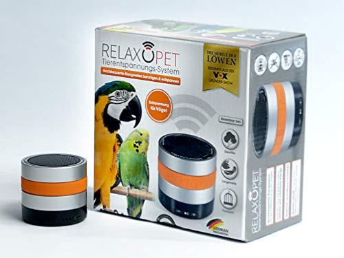 RelaxoPet Entspannungsgerät | Version für Vögel | Beruhigung durch Klangwellen | Ideal bei Gewitter, Feuerwerk oder auf Reisen | Hörbar und unhörbar | 5V, kabellos