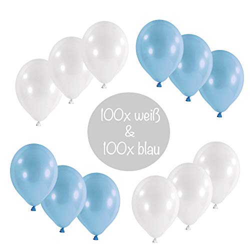 L+H 200x Luftballons blau weiß Oktoberfest|Hochwertige Blaue & weiße Ballons|Oktoberfestdeko Bayrisches Fest Bayern Party Bayrische Wiesen Wiesn Deko Dekoration bayrisch Cannstatter Wasen Partyballon