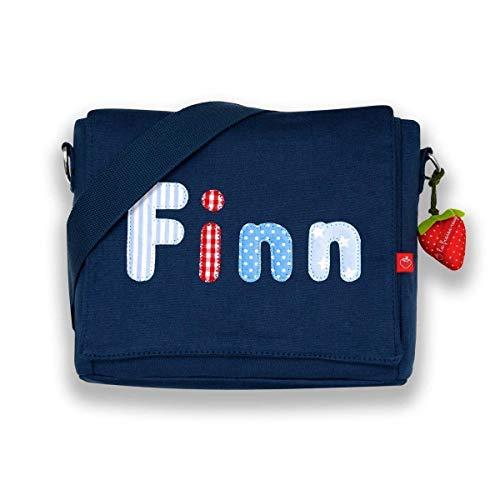 Kindergartentasche & Kindergartenrucksack in einem: Buchstabentasche mit Namen blau für Jungs & Mädchen