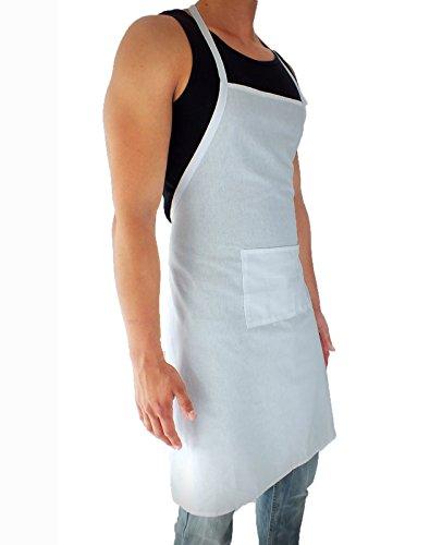 sinnlein® Schürze Kochschürze 8 Farben wählbar Latzschürze Gastronomie Grillschürze Küchenschürze Weiß