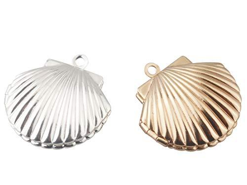 ALLinONE Brass Shell Shape Photo Locket Pendant Charm for Gift DIY craft Jewelry Making 6pcs (Silver & Gold)