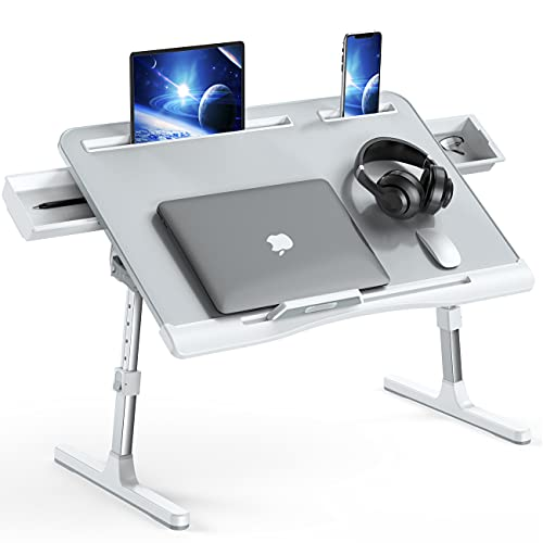 Foldable Laptop Bed Tray Desk, Adjustable Laptop Bed Table with Heights and Angles, Upgraded-Sturdy Laptop Stand for Bed/Sofa/Couch/Floor, Lap Tablet...