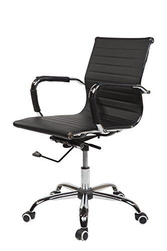 SVITA Design Bürostuhl Chrom Rahmen Elegance Chefsessel Drehstuhl Konferenz-Stuhl (Schwarz, Niedrige Lehne)