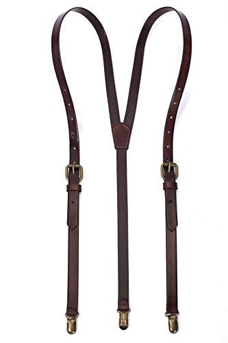 Rockcow - Bretelle da uomo in vera pelle, con retro a Y, resistenti e regolabili, con clip in metallo Caff Medium
