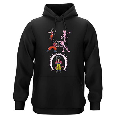 Sweat-shirt à Capuche Noir parodie Dragon Ball GT Panthère Rose - Sangoku 4 et la Panthère Rose - L'être le plus puissant de l'Univers !! (Fusion !!) (Sweatshirt de qualité premium de taille XXL - im