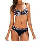 riou Bikini Mujer Push-up con Relleno Split Estampado Vintage de Traje de baño Bikinis Tirantes Traje de Baño de Una Pieza Talla Grande Playa Bañador 2019 Biquinis