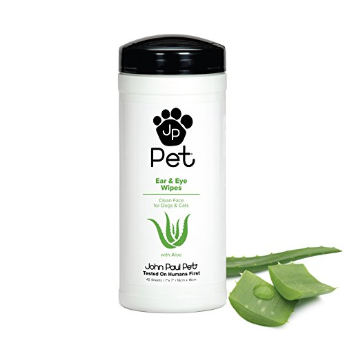 John Paul Pet Ear and Eye Pet Wipes for Dogs and Cats, Infused with Aloe, 7' x 7' Sheets in 45-Count Dispenser, Unscented