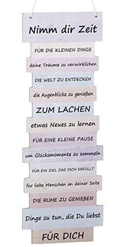 Bada Bing Wandschild Ca. 41, x 15 cm Nimm Dir Zeit Wünsche Bild in Pastelltöne Plankenoptik Spruch Schild Deko Geschenk Wandbild 65
