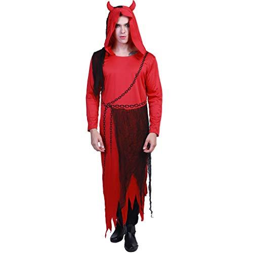 EraSpooky Disfraz de Diablo Rojo Adulto Traje de Gala Robe Cosplay Fiesta de Halloween Traje Divertido para Mujeres Hombres
