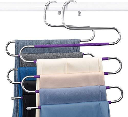 HOUSE DAY S-Form Hosen Kleiderbügel Platzsparende Hosen Kleiderbügel 4er Set, Rutschfester Jeans Kleiderbügel Ideal Closet Organizer für Hosen Jeans Schals Gürtel Krawatten, Lila