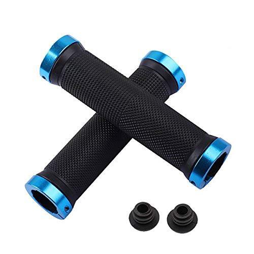Kework Bike Grips, Double Locking Bike Bicycle Mountain Bike Handlebar Grips, Include 2 Handlebar Caps, Aluminum Alloy Lock Ring (Blue)