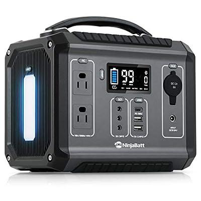 NinjaBatt Portable Power Station 280Wh Lithium Battery, 110V/300W Pure Sine Wave AC Outlets, 60W PD 3.0 USB-C & 2 USB Ports, 12V/24V DC & LED Flashlight