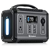 NinjaBatt Portable Power Station 280Wh Lithium Battery, 110V/300W Pure Sine Wave AC Outlets, 60W PD 3.0 USB-C & 2 USB Ports, 12V/24V DC & LED Flashlight