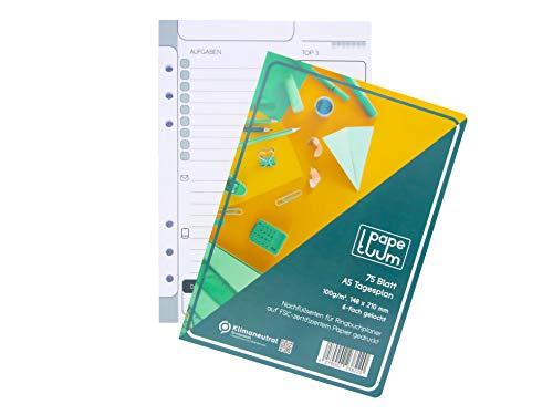 PAPETUUM Hojas para archivador de anillas, A5, planificador diario de tareas diarias, 6 agujeros, 75 hojas, 100 g/m²