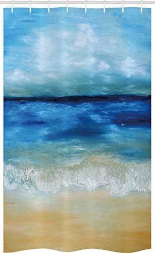 ABAKUHAUS Kunst Schmaler Duschvorhang, Tropical Sandy Beach, Badezimmer Deko Set aus Stoff mit Haken, 120 x 180 cm, Marineblau Hellbraun