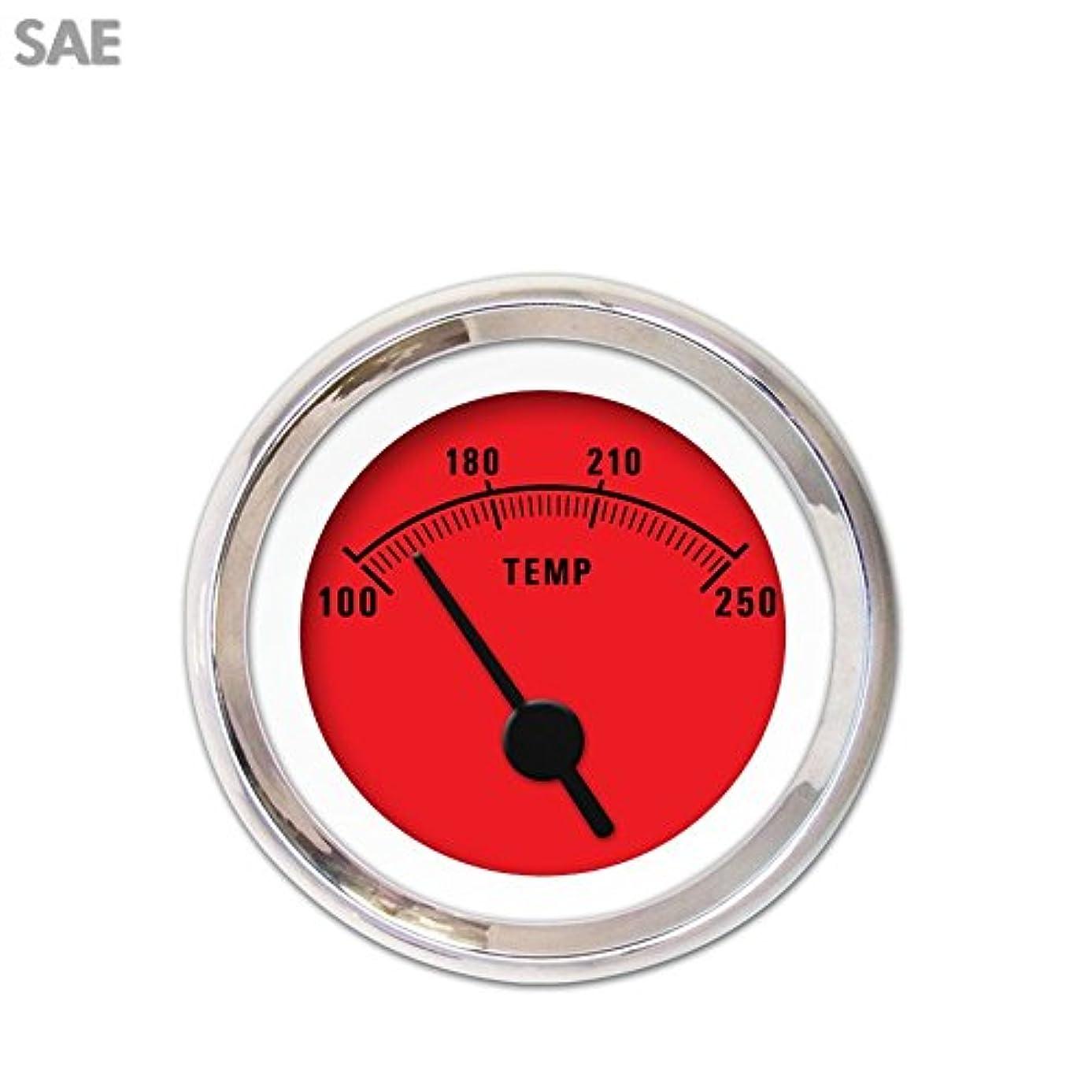 Aurora Instruments 3327 Rider Red SAE Water Temperature Gauge (Black Vintage Needles, Chrome Trim Rings, Style Kit DIY Install)
