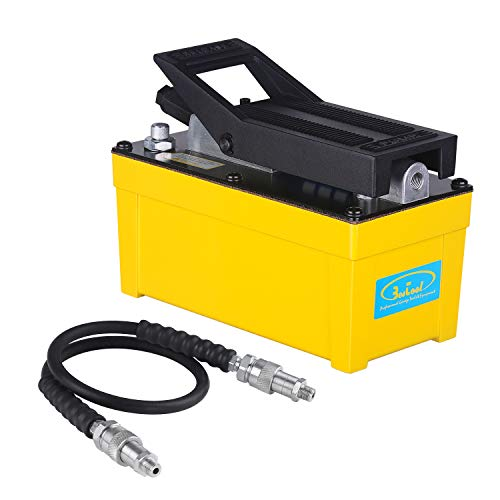 BESTOOL Air Hydraulic Pump - 10,000 PSI Hydraulic Pressure 1/2 Gal Reservoir Foot Pump Air Treadle Foot Actuated Hydraulic Pump (Single Acting) Yellow