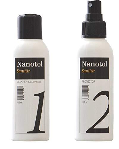 Nanotol Sanitär Kombi Set - Cleaner und Protector - je 125 ml/Nanoversiegelung Sanitärbereich (20 m²) mit Sanitärreiniger zur Vorbereitung
