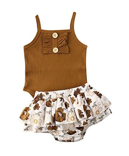 Newborn Baby Girls Button Sleeveless Crop Tops + Shorts Pants Tutu Skirt Outfits 2pcs Clothes Set (B-2, 6-9 Months)