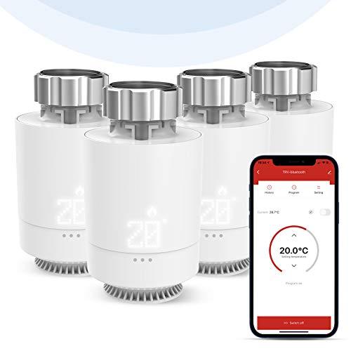 Inteligente Termostato WiFi, Etersky Válvula Termostática Radiador, Termostato Calefacción Bluetooth, Smart Cabezal Termostático Programable, Control App, Pantalla LED, M30*1.5mm, Control Grupal (4P)