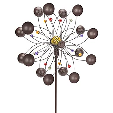 GIGALUMI Solar Wind Spinner with Crackle Glass Ball Solar Lights, 25.5  Dia, Bronze Powder Coated Finish, Dual Rotors Wind Sculpture for Yard Art or Garden Decoration