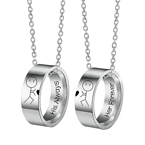 Couple Necklaces For Him And Her Always And Forever Silver Titanium Steel Romantic Anime Charm A Promise Is Forever Bff Matching Ring Necklaces Jewelry For Best Friends