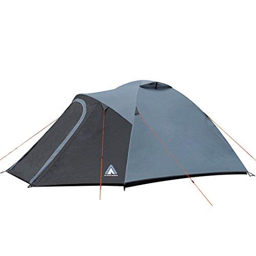 10T Zelt Glasgow 5 Mann Kuppelzelt wasserdichtes Familienzelt 5000mm Stehhöhe Wohnraum Igluzelt Blau