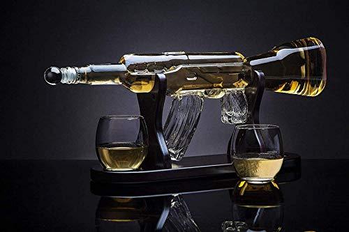 KPTKP Juego de decantadores de Whisky de Whisky de 750 ml, con Base de Madera y 2 Copa de Vino, Regalo de los Hombres para el Alcohol, Ginebra, Whisky escocés, Bourbon
