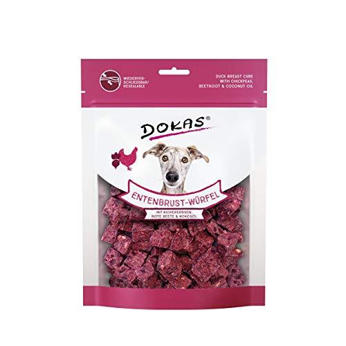 DOKAS Entenbrust-Würfel – Premium Superfood-Snack für Hunde aus Entenbrust – Mit Kichererbsen, Rote Beete & Kokosöl – 1 x 150 g