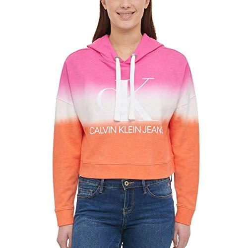 Calvin Klein Jeans Damen Monogramm Logo Tie Dye Block Hoodie - Sherbert Combo, size: Groß