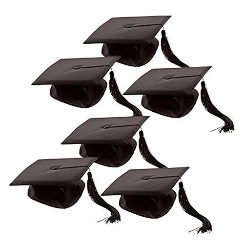 Schramm® 6 Stück Doktor Bachelor Hut 26x26cm Uni Diplom Hut Abschlussfeier Doktorand Absolventenhut Abschlusshut 6er Pack
