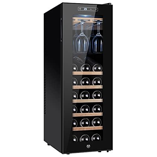 VIY Nevera para vinos, Nevera Independiente 90 litros/20 Botellas, Temperatura: 11-18 °C, 5 baldas, Luces LED, protección UV,A
