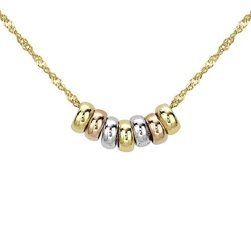 Carissima Gold 9 ct 3 Colour Gold Lucky Rings Chain Necklace of Length 41 cm/16 inch