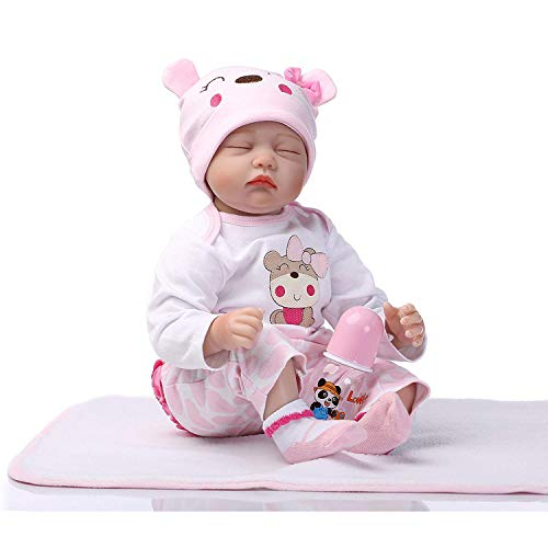 SAMLOO Reborn Baby Dolls Interactive Doll Soft Newborn Body Doll Weighted Lifelike Realistic Baby Doll Vinyl Silicone Doll Toddler Girl Surprice Gift Kid Toy for Age 3+