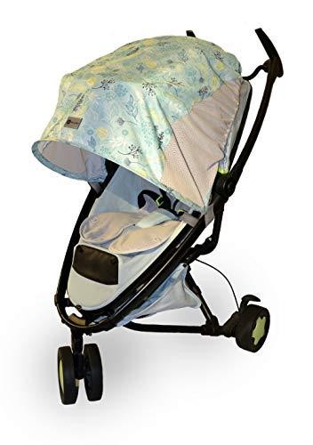 Sonnenschutz/Regenschutz/Windschutz für Kinderwagen und Buggy, Farbe: MINT LEAVES