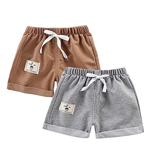 Feidoog Baby Boys Girls 2 Pack Cotton Summer Shorts,Toddler Baby Casual Knee Length Solid Pants,Gray+Khaki,12-18M
