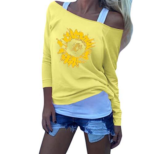 Leewos Women's Sexy Cold Shoulder Sunflower Print Long Sleeve Sweater Casual Blouse Tops(Yellow,XL)
