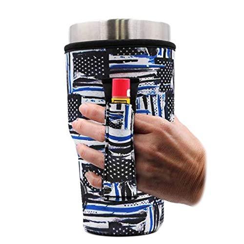 Blue Line Police 30oz Pocketed Handler fits Blender Bottles and 30oz Yeti Coolers Insulator Sleeve, patent pending