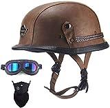 ドイツ軍ヘルメットレザーラップレトロハーフヘルメットDOT認定,XL
