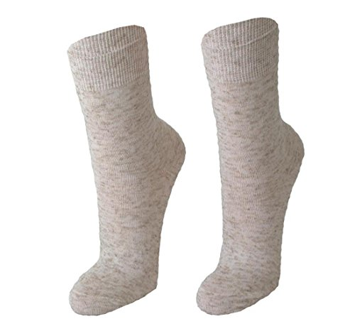Cotton Club Leinen Socken für Damen im 3er Pack naturmelange 39-42