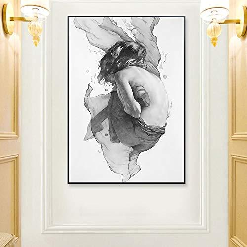 ganlanshu Nórdico Moderno Creativo Abstracto Chica Pintura al óleo póster Pintura Mural decoración de la Sala de Estar,Pintura sin Marco,60x90cm