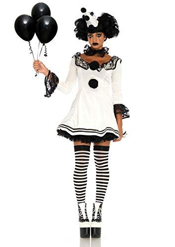 LegAvenue Damen Pierrot Clown Kostüme, White, Black, S/M
